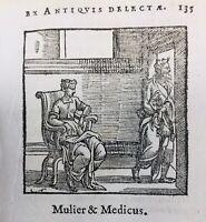 La Femme et le Médecin 1682 rare Gravure sur Bois Fables d'Esope Gabriele Faerno