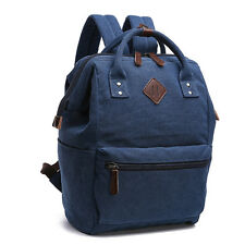 Unisex Daily Canvas Leather School Work Travel Backpack Fr Laptops Up To 13-Inch