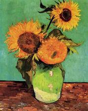 "Vincent Van Gogh - Three Sunflowers in a Vase  20""x26""  Canvas Art Print"