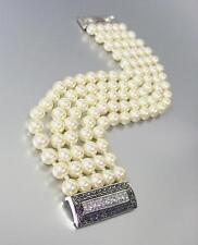 Clásico Estilo Diseñador Plata Cable Cristales CZ Crema Perlas