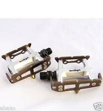 WELLGO SUPER LITE MOUNTAIN BIKE FLAT CAGE PEDALS 114g BROWN ANODIZED