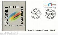 1989 ENVELOPPE ILLUSTRE FDC 1°JOUR*SOMMET A L'ARCHE DE LA DEFENSE*TIMBRE N°2600