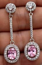 18K White Gold Filled- 1.8'' Oval Pink Topaz Zircon Gemstone Party Drop Earrings