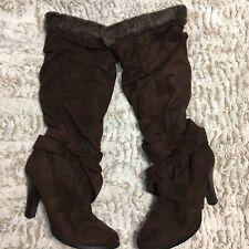 Glaze Velvet Furry Knee Long Boots Brown  Size 8 Women's Shoes