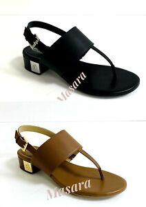 Women MK MICHAEL Michael Kors Ives Thong Buckle Up Sandals Leaher Black