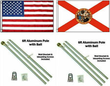 3x5 eeuu. AMERICANA & State Of Florida BANDERA ALUMINIO Polo Kit