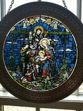 """""""Nativity Of Love"""" Stained Glass Plate Bradex No. 84-R30-8.1 with chain hanger"""