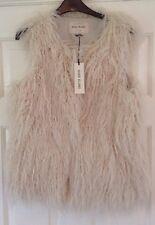 River Island Faux Mongolian Fur Cream Gilet Jacket Waistcoat Size 10 BNWT