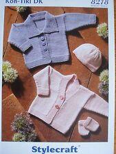 STYLECRAFT 8218 - BABIES DK CARDIGANS, HAT & MITTENS KNITTING PATTERN 14/22in