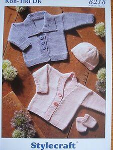 STYLECRAFT 8218 - BABIES DK JACKETS, HAT & MITTENS KNITTING PATTERN 14/22in