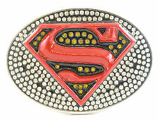 SUPER HERO S SUPER MAN BLING BLACK LOGO BELT BUCKLE DC SUPERMAN GIRL SNAP BELT