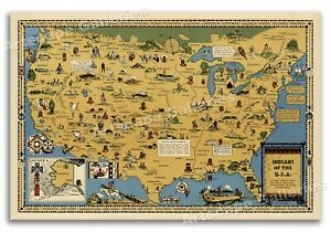 Indians of the USA Native American Tribes Historical Vintage Map Poster - 16x24