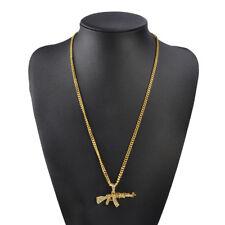 Bling Diamond Mens AK47 Gun Chain Necklace RAP Hip Hop Cuban Fashion Pendant