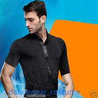 Men Short Sleeve Prom Ballroom Latin Tango Samba Salsa Competion Dance Shirt Top