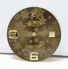 New! Genuine Rolex Datejust 36mm Brown Floral Flower Motif 6 & 9 Dial