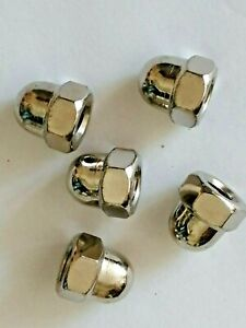 M8 BRASS NICKEL PLATED DOMED NUTS  -  din 1587 -  PACK OF 5 - Clearance sale