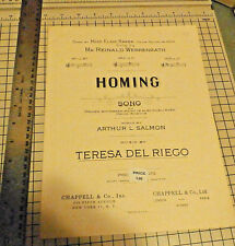 HOMING song with Organ accompaniment by Arthur L. Salmon, words & Teresa Del Rie