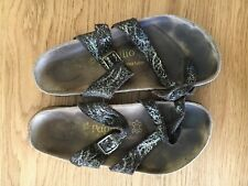 PAPILLIO BIRKENSTOCK SIZE 36 UK3.5 LADIES BROWN & GOLD SUEDE SLIP ON SANDALS