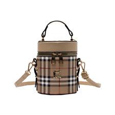 Women Plaid Cylinder Handbag PU Leather Shoulder Bag Messenger Purse Bucket Bag