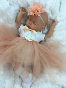 REBORN DOLL HEAVY BABY GIRL PEACH TUTU OUTFIT MAGNETIC DUMMY M