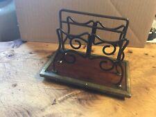 Vintage Decorative Brass and Wood Desk Top Letter Rack