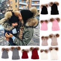 2Pcs Women Mother Child Baby Winter Warm Knit Beanie Fur Pom Hat Crochet Ski Cap