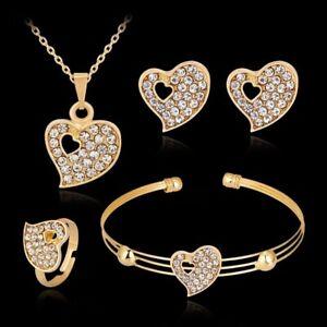 Set of 4 Women Gold Diamond Necklace Earring Ring Bracelet Choker Heart Jewelry