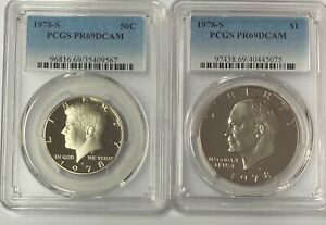 1978-S IKE Dollar and   Kennedy Half Dollar PR69DCAM  (2coin Set)