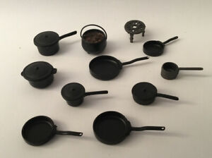 Dolls House Black Pots And Pans