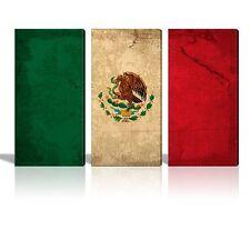 Canvas Prints - 3 Panel Vintage Mexico Flag - 36