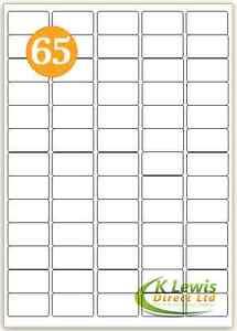 x100 65per A4 Printer Labels Self Adhesive Stickers L7651 J8651