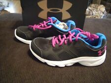 Brand New Girls Black, Blue & Purple Under Armour Pace Tennis Shoes, Size 5.5
