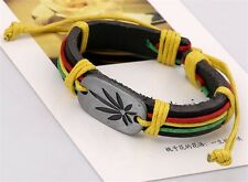 Rasta Leather Bracelet Adjustable Hemp Cord Weed Leaf Marijuana Jewelry New USA