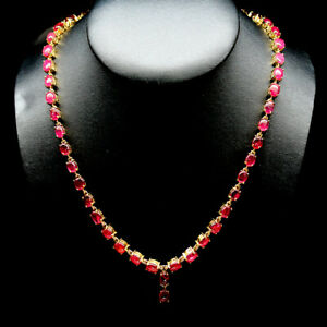 NATURAL 6 X 8mm. PINK RUBY STERLING 925 SILVER NECKLACE 14K GOLD PLATED