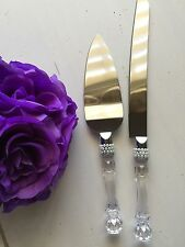 Elegant Wedding Party Cake Knife and Server Set with Faux Crystal Handle Pearl