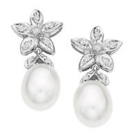 Freshwater Pearl and 1/10 ct Diamond Drop Earrings in 14K White Gold
