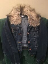 Justice Girl Jean Jacket Size 12 With Removable Faux Fur