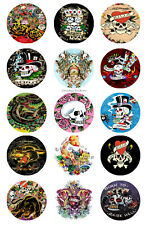 15 x Ed Hardy Bottle Cap Logo Images for Necklaces, Magnets, Scrapbooking, Bows