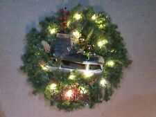 """24"""" Canadian Pine Christmas Wreath Battery Operated LED Lights W/ Vintage Skate"""
