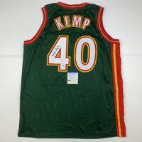 Autographed/Signed SHAWN KEMP Seattle Dark Green Basketball Jersey PSA/DNA COA