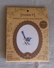 Australian Birds mini cross stitch kit with timber frame 10 x 13cm inc 3 birds