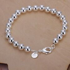 Fashion 925Sterling Solid Silver Jewelry 8MM Hollow Beads Bracelet Women H126