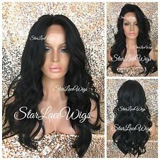 Lace Front Wig Human Hair Blend Long Wavy Curly Swiss Lace Jet Black #1 Heat Ok