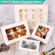 Cupcake Boxes 2/4/6/12 Holes Clear Window Face Cupcake Display Boxes Muffin Cups