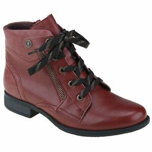 Planet Shoes Redhill Womens Comfort Lace Up Ankle Boot in Red Leather