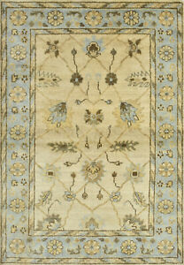 Oushak Rug, 4'x6', Ivory/Blue, Hand-Knotted Wool Pile