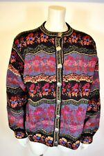 Icelandic Wool Sweater Coat lined Embossed Metal Buttons S/M Beautiful Pattern