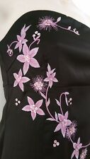 JANE NORMAN BLACK PARTY COCKTAIL SLEEVELESS DRESS WITH PINK FLOWERS SIZE 12