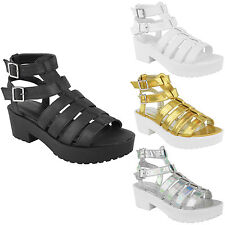 NEW WOMENS GLADIATOR CUT OUT SANDALS LADIES PUNK PLATFORM CHUNKY BLOCK HEEL SIZE