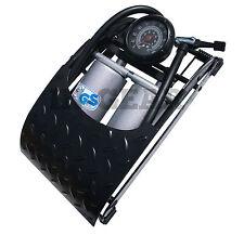 HEAVY DUTY car bike DOUBLE barrel Foot pump c/w gauge twin HI PRESSURE QUALITY